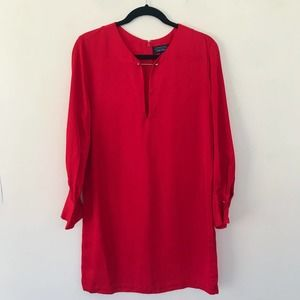 & Other Stories Red Long Sleeves Pin Shift Dress 8